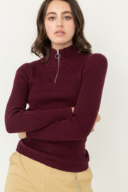 Love Tree Zip Up Mock Neck Ribbed Sweater - Front cropped