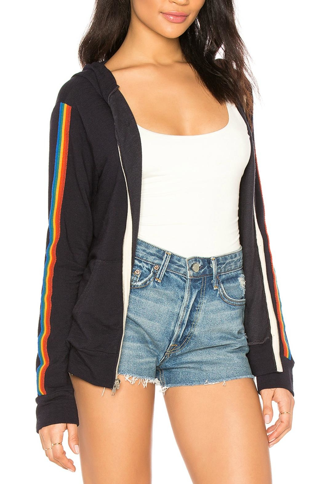 Monrow Zip Up Stripe - Front Full Image