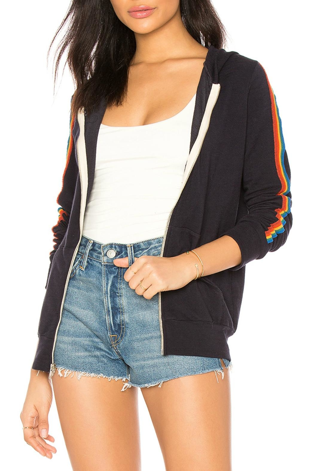 Monrow Zip Up Stripe - Front Cropped Image