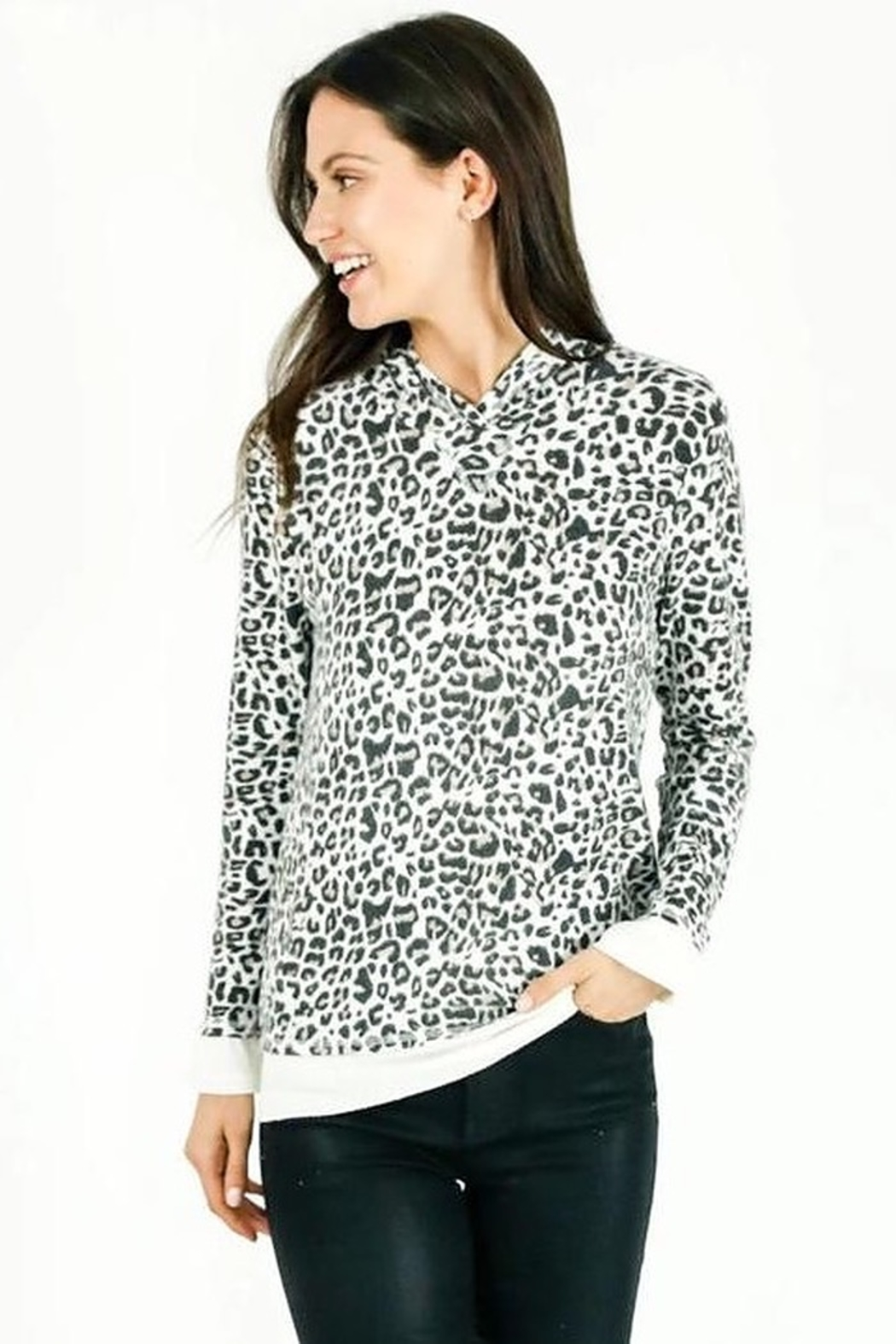 Six Fifty Zipper Back White Leopard Hacci Hoodie - Main Image