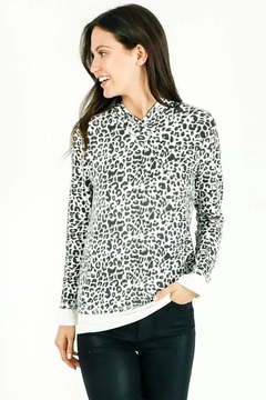 Six Fifty Zipper Back White Leopard Hacci Hoodie - Product List Image