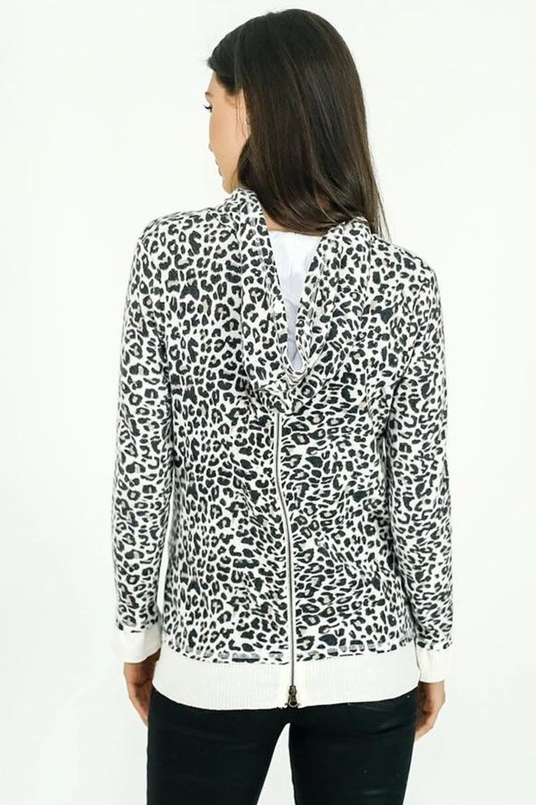 Six Fifty Zipper Back White Leopard Hacci Hoodie - Front Full Image