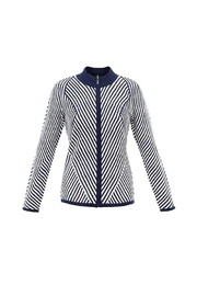 Marble Zipper Front Diagonal Pattern Cardigan - Product Mini Image