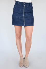 Just Black Denim Zipper Front Skirt - Product Mini Image