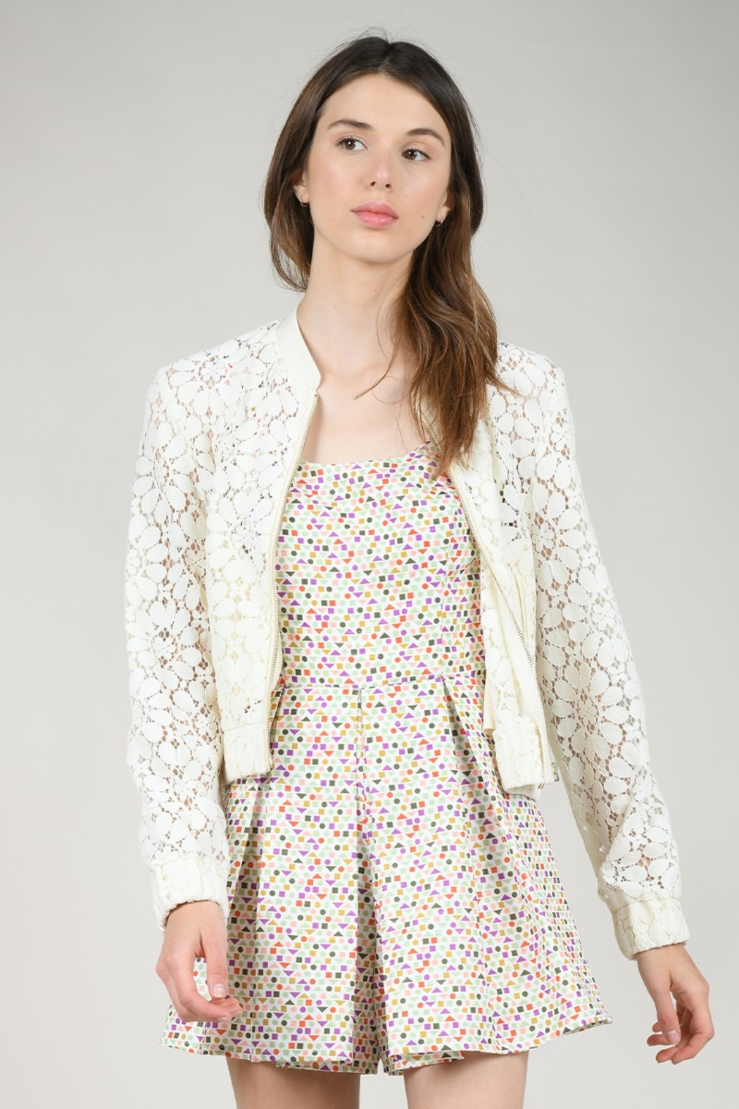 Molly Bracken ZIPPER LACE JACKET - Front Cropped Image