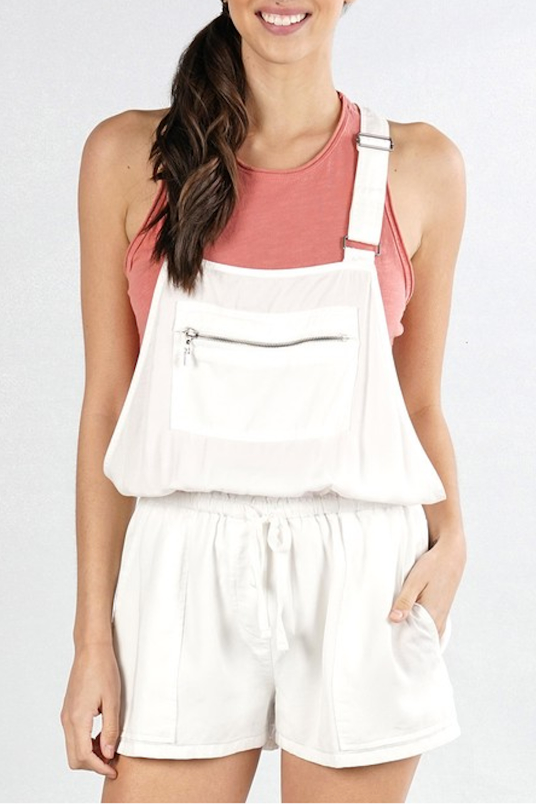 Lovestitch Zipper Pocket Overalls - Front Cropped Image