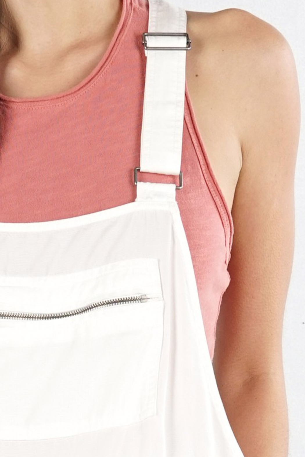Lovestitch Zipper Pocket Overalls - Side Cropped Image