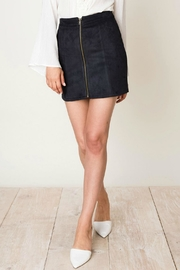 Pretty Little Things Zipper Suede Skirt - Front cropped