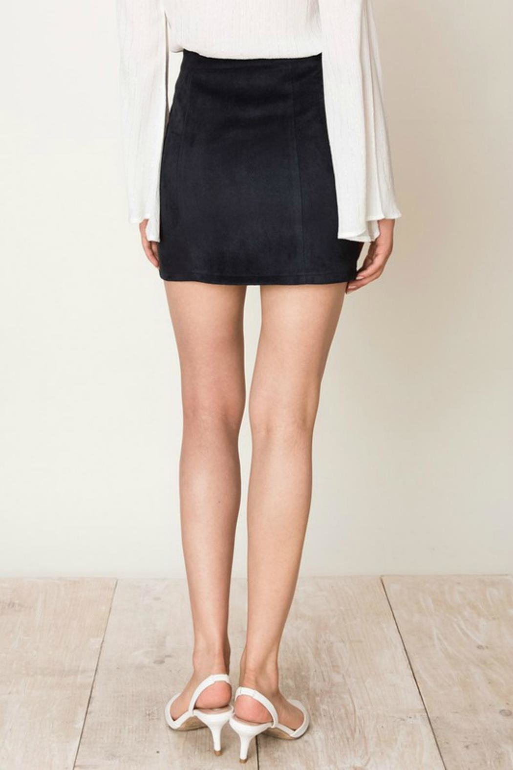 Pretty Little Things Zipper Suede Skirt - Front Full Image