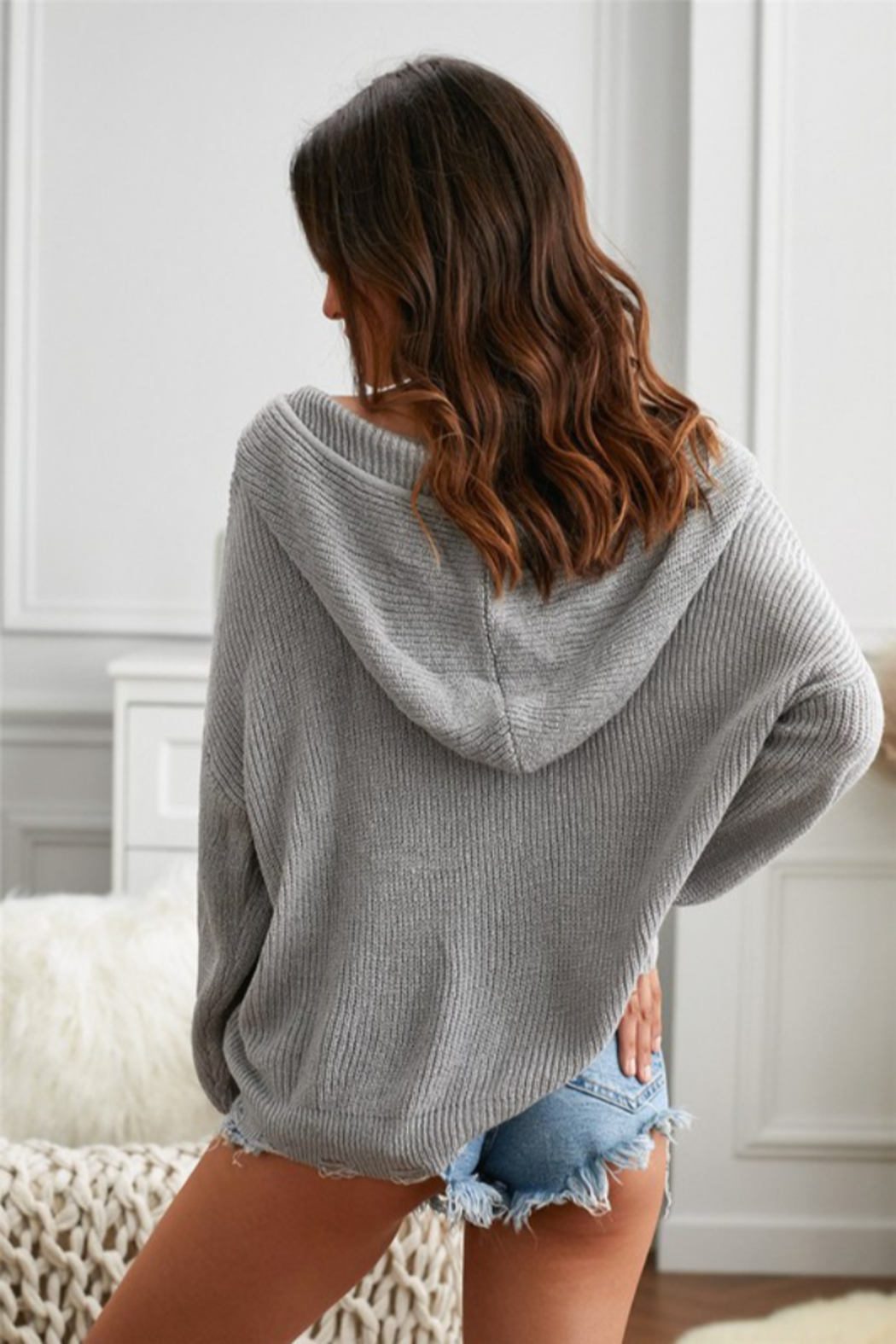 Shewin Zipper V-neck Dropped Sleeve Hooded Solid Sweater - Front Full Image