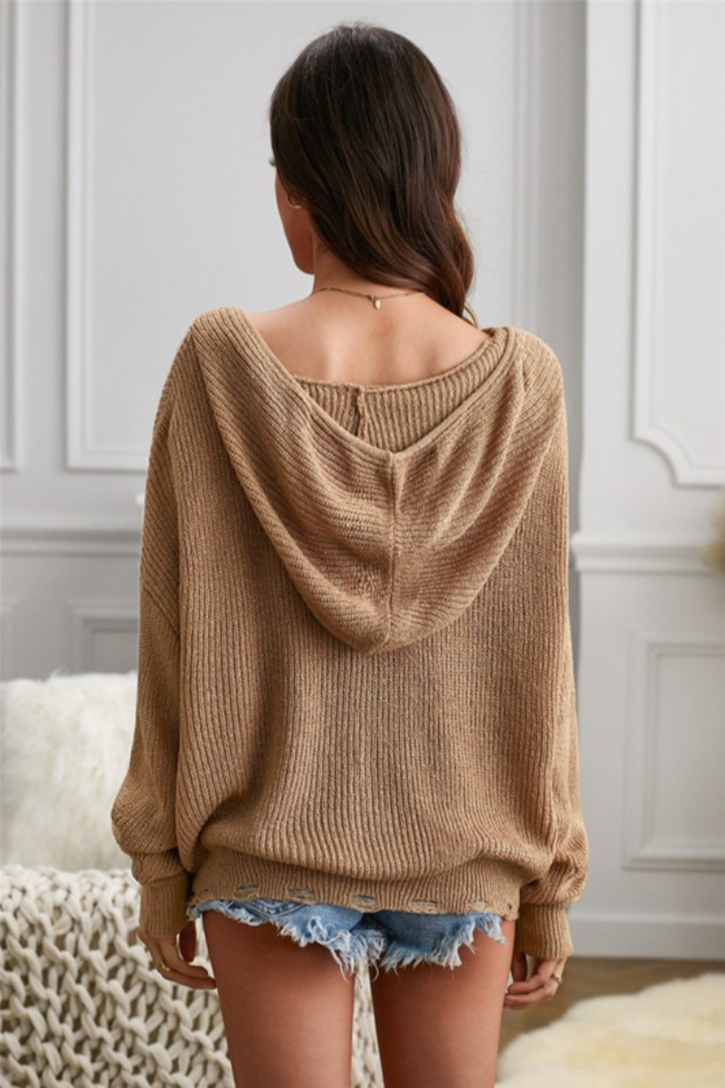 Shewin Zipper V-neck Dropped Sleeve Hooded Solid Sweater - Side Cropped Image