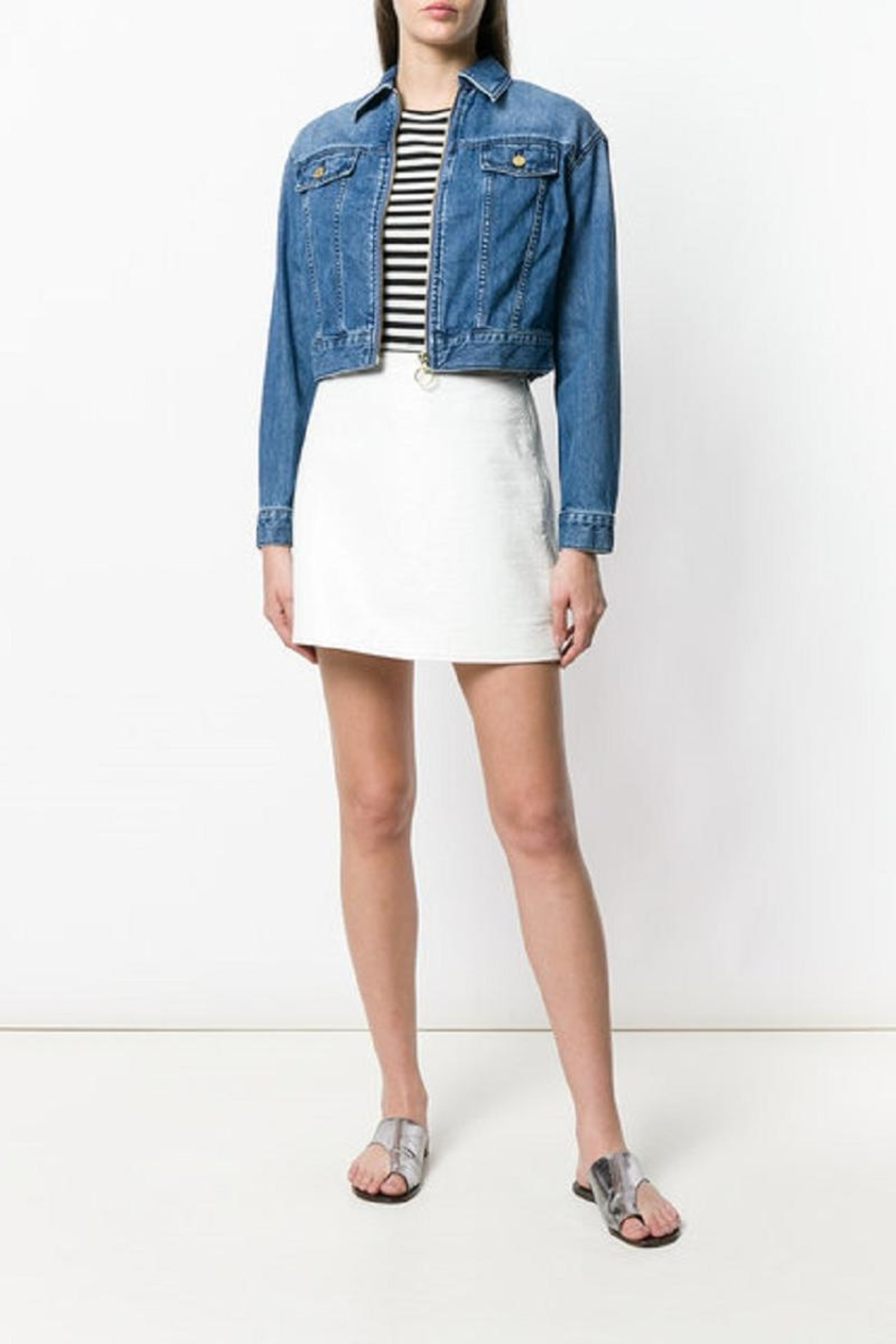 Michael Kors Zippered-Cropped Denim Jacket - Front Cropped Image