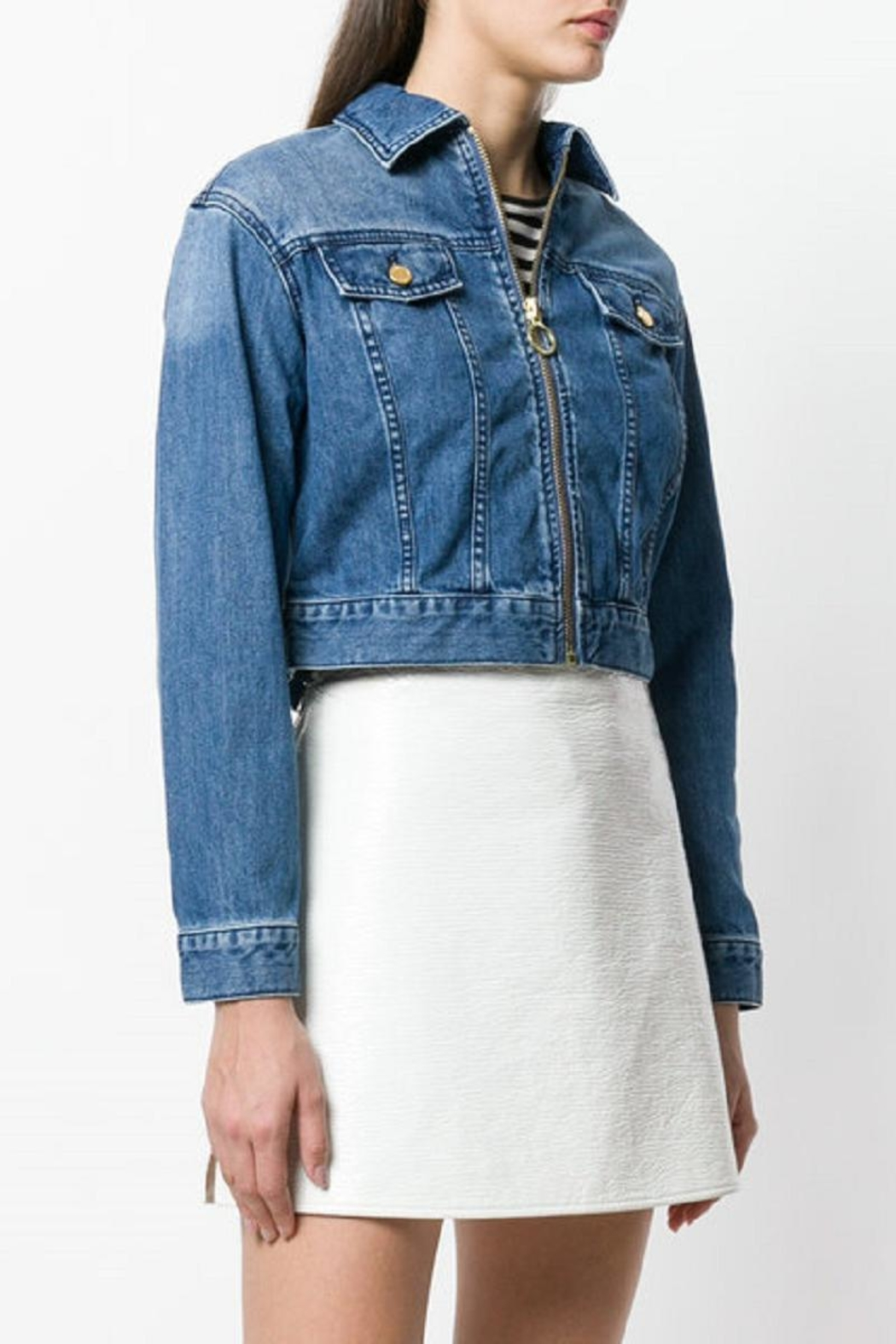 Michael Kors Zippered-Cropped Denim Jacket - Front Full Image