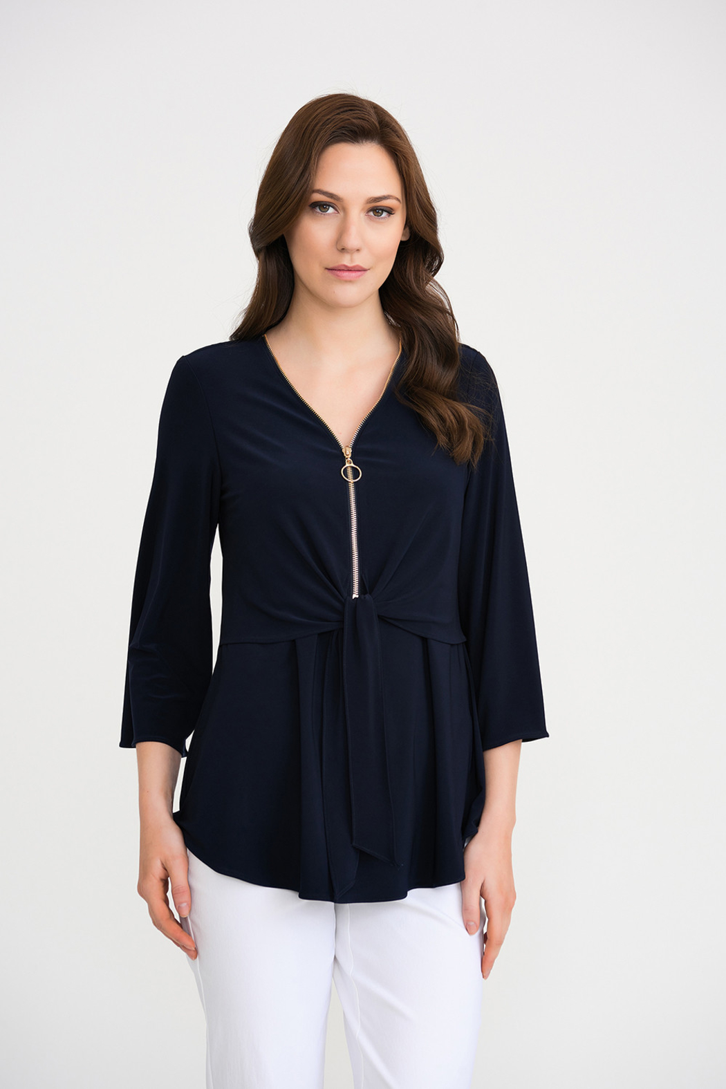 Joseph Ribkoff Zippered Neck Top, Midnight - Front Cropped Image