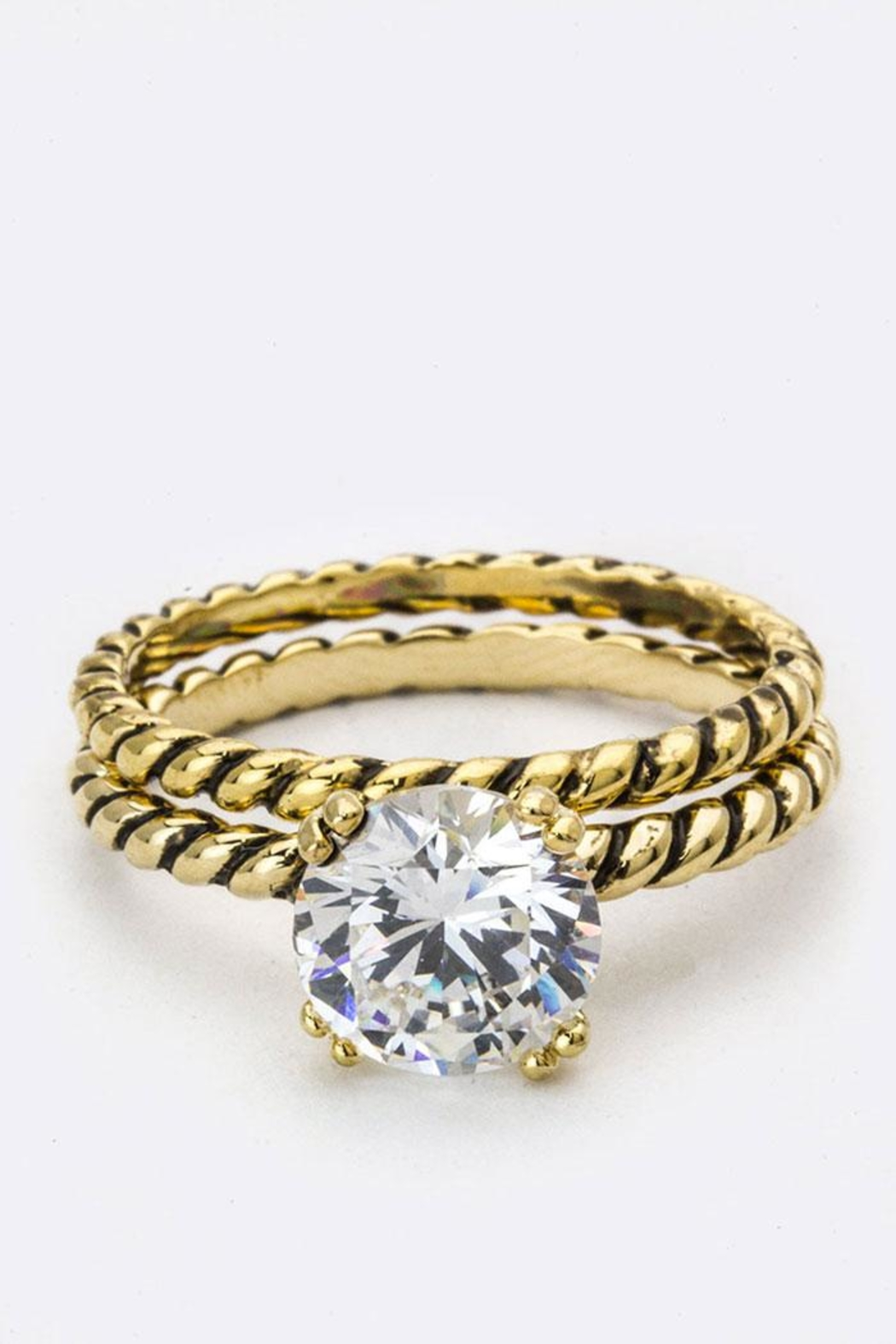 Nadya's Closet Zirconia Double Ring - Front Cropped Image