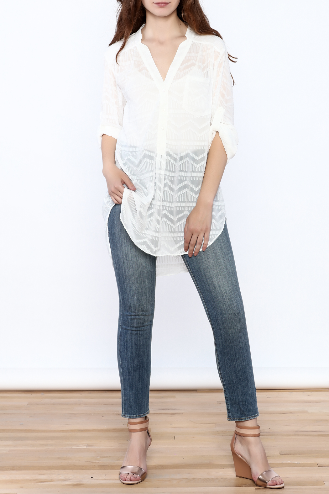 Zoa Aztec Button Down Top - Front Full Image