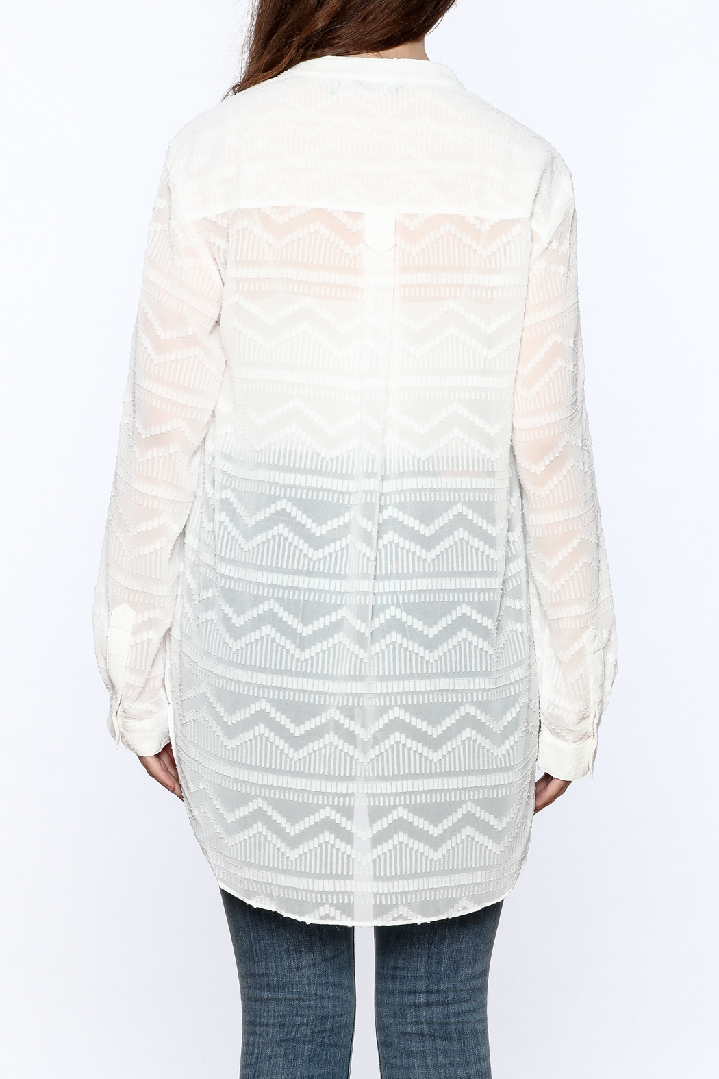 Zoa Aztec Button Down Top - Back Cropped Image
