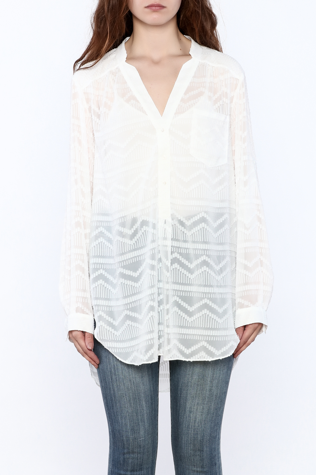 Zoa Aztec Button Down Top - Side Cropped Image