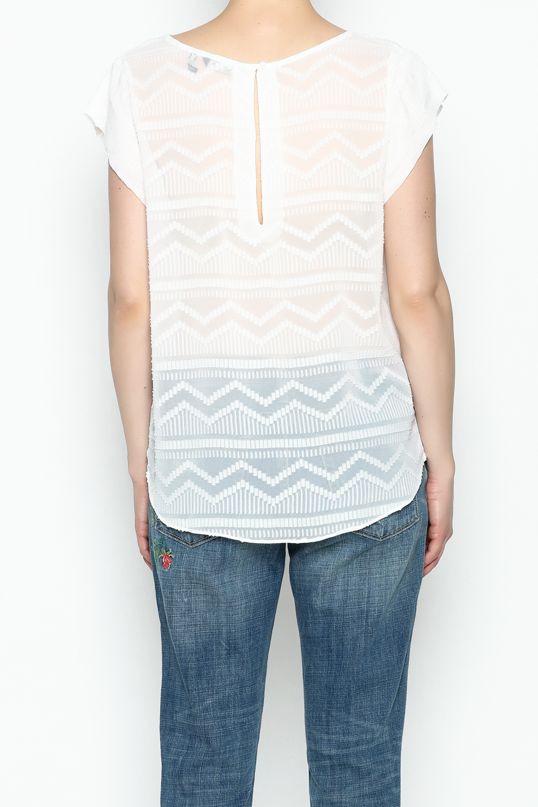 Zoa Aztec Embroidered Blouse - Back Cropped Image