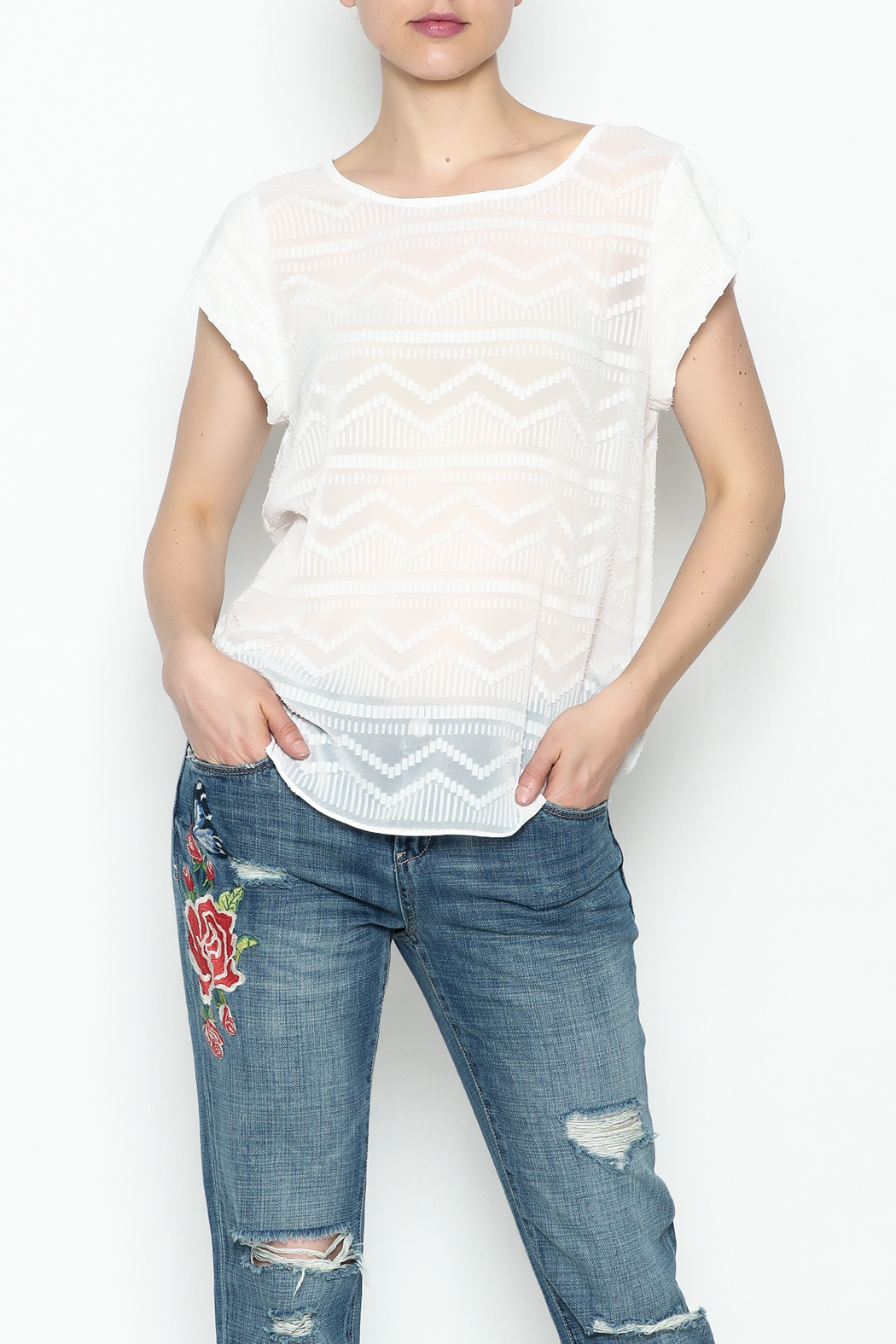 Zoa Aztec Embroidered Blouse - Side Cropped Image