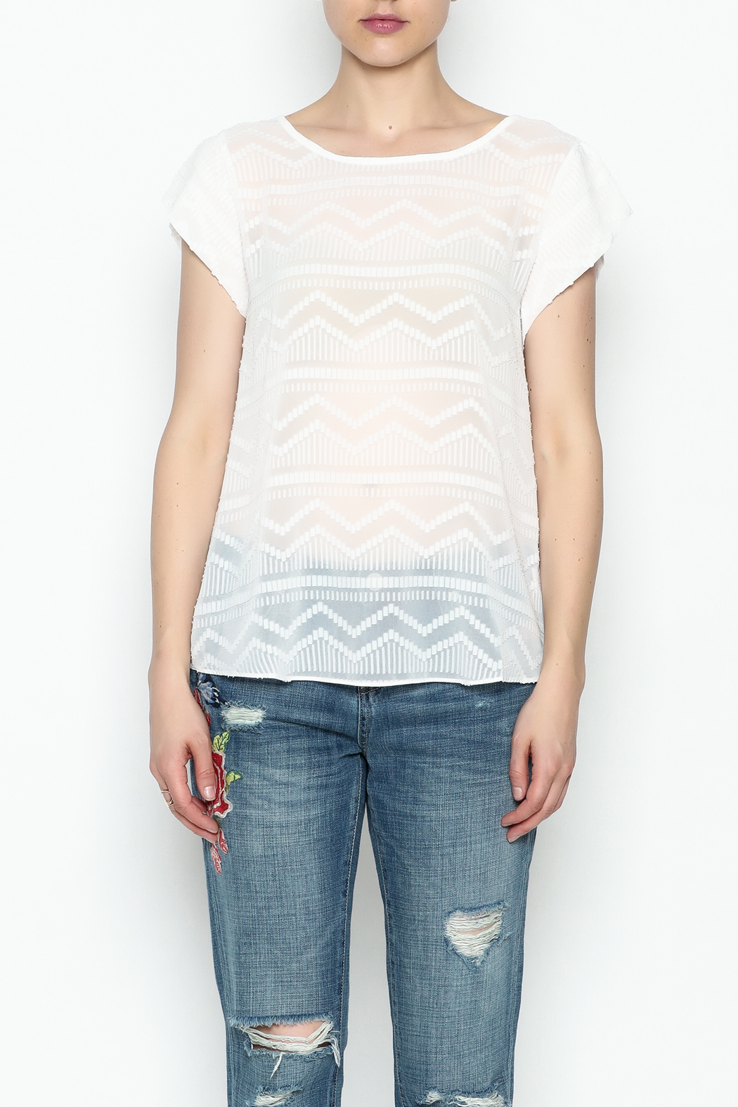 Zoa Aztec Embroidered Blouse - Front Cropped Image