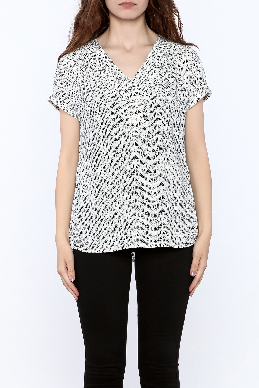 Zoa Grey Printed Boxy Top - Side Cropped Image