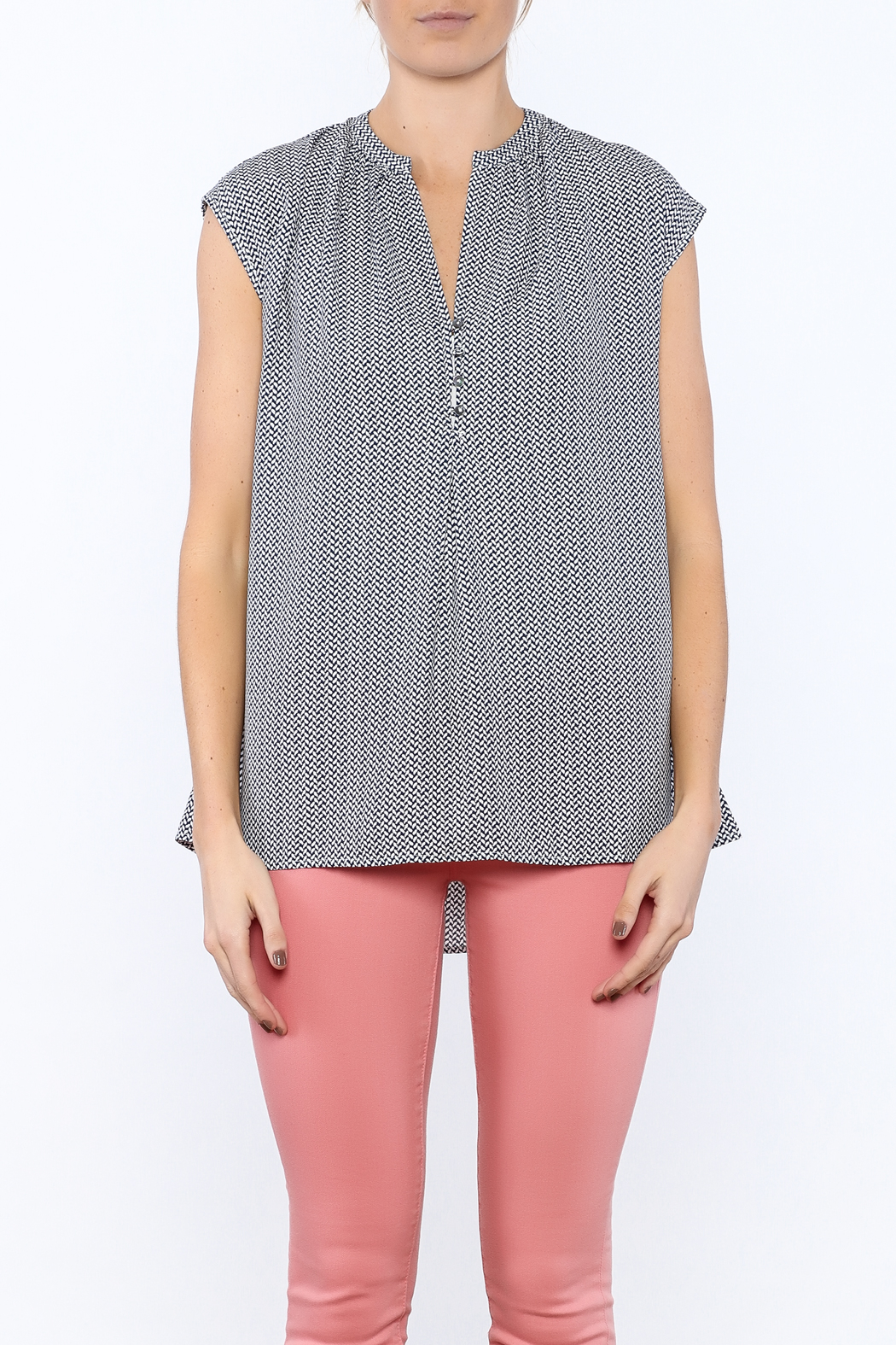 Zoa Blue Printed Boxy Top - Side Cropped Image