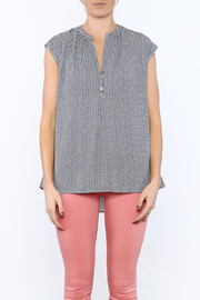 Zoa Blue Printed Boxy Top - Side cropped