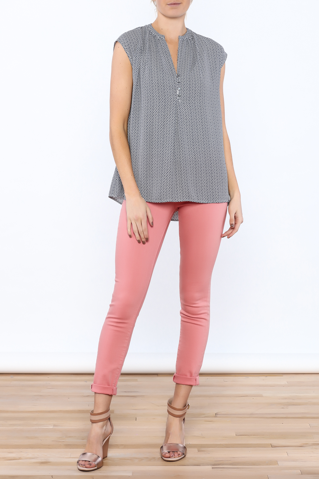 Zoa Blue Printed Boxy Top - Front Full Image