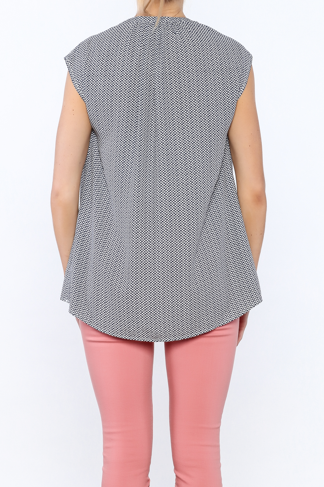 Zoa Blue Printed Boxy Top - Back Cropped Image