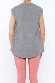 Zoa Blue Printed Boxy Top - Back cropped