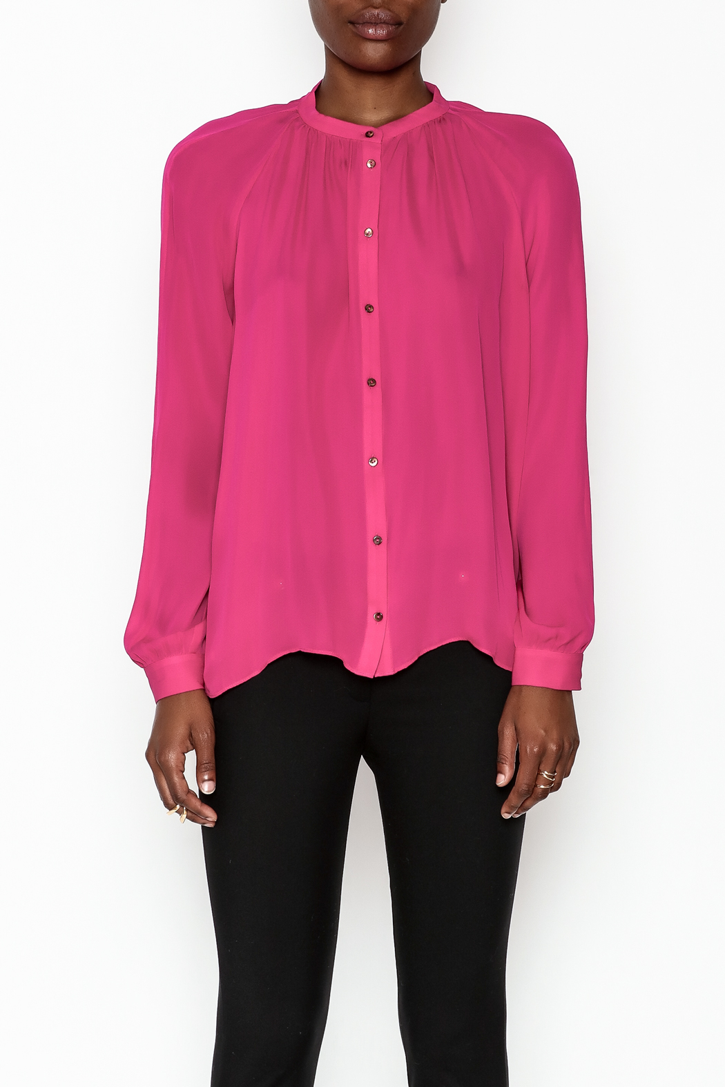 Zoa Silk Button Down Blouse - Front Full Image
