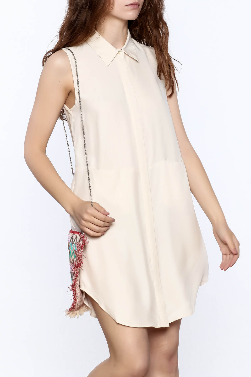 Zoa Beige Silk Dress - Main Image