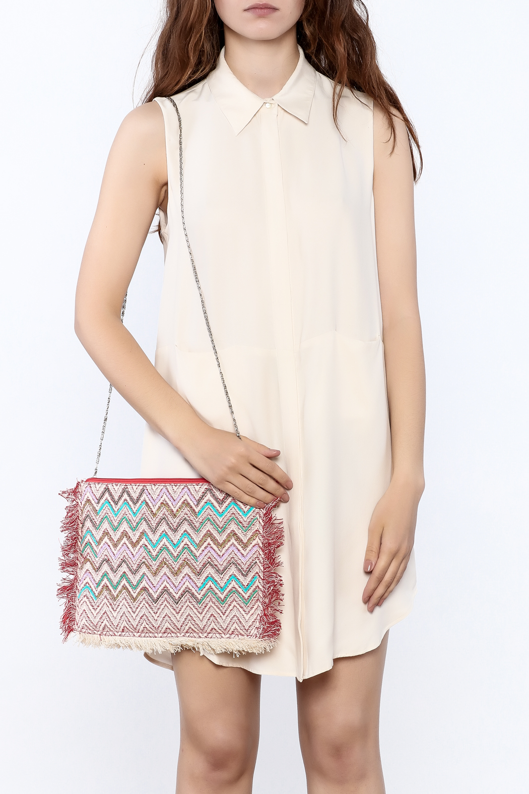 Zoa Beige Silk Dress - Side Cropped Image