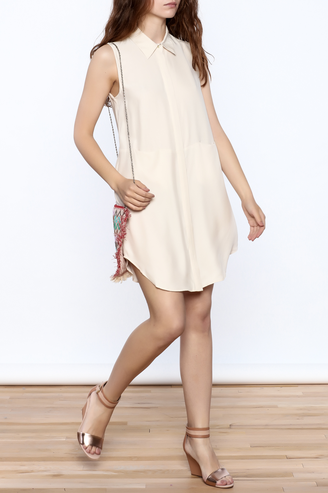 Zoa Beige Silk Dress - Front Full Image