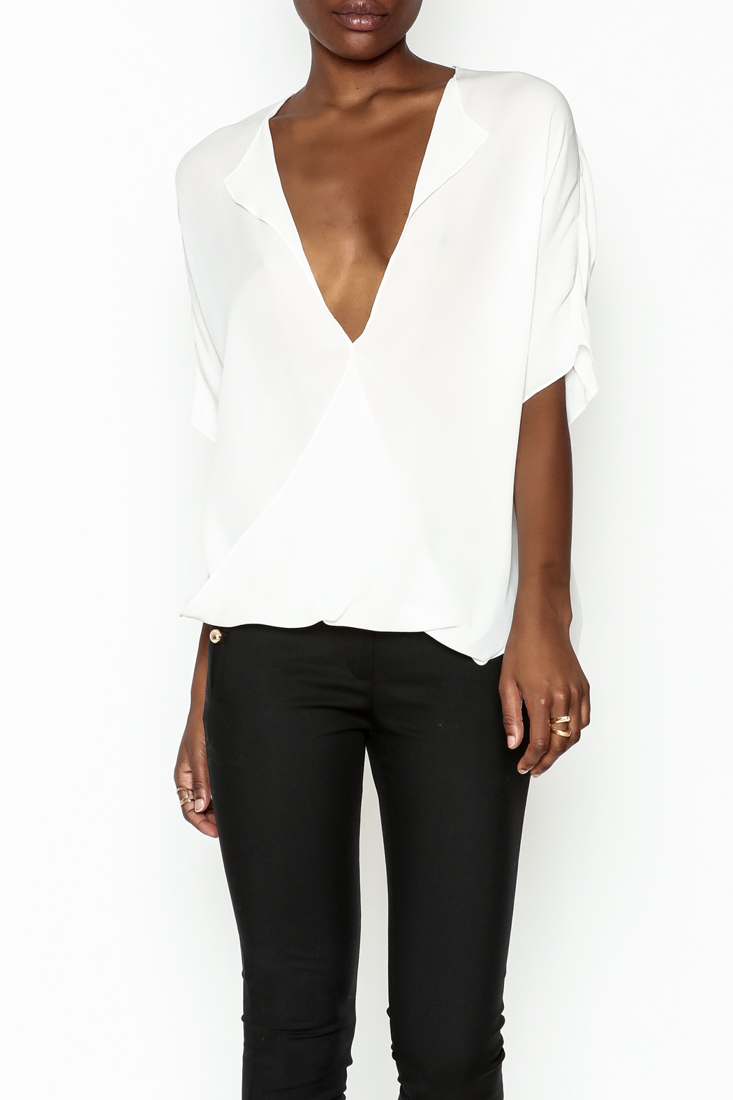 Zoa Silk Open Blouse - Front Cropped Image