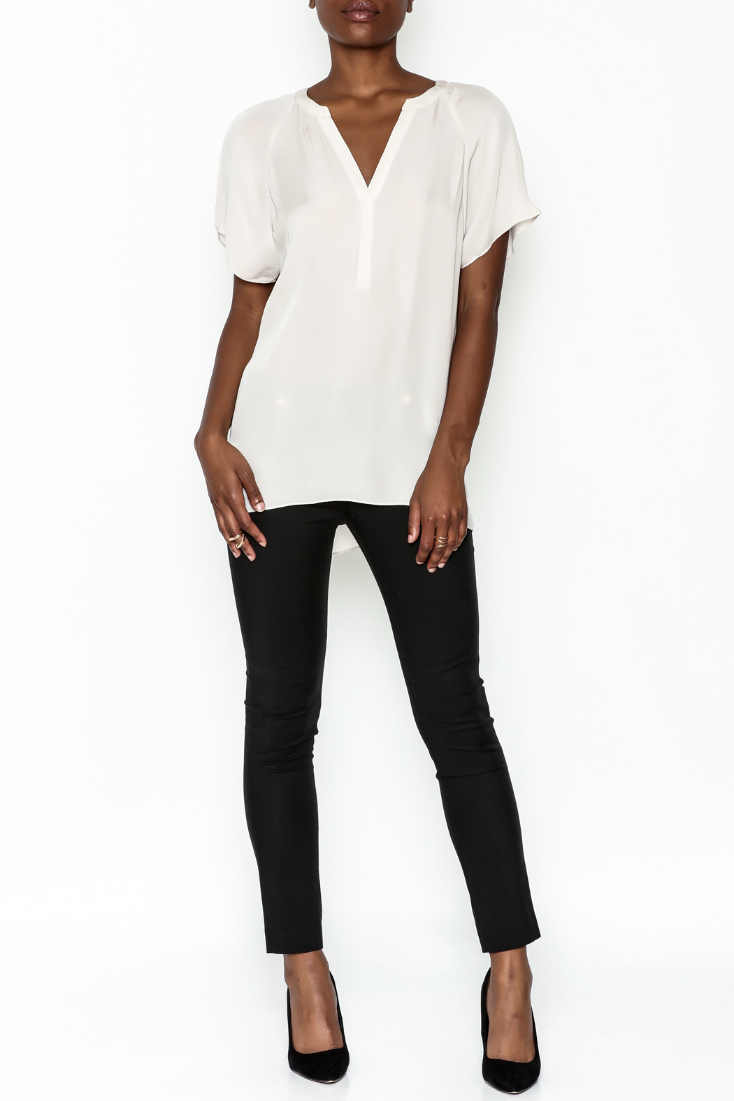 Zoa Silk V Neck Blouse - Side Cropped Image
