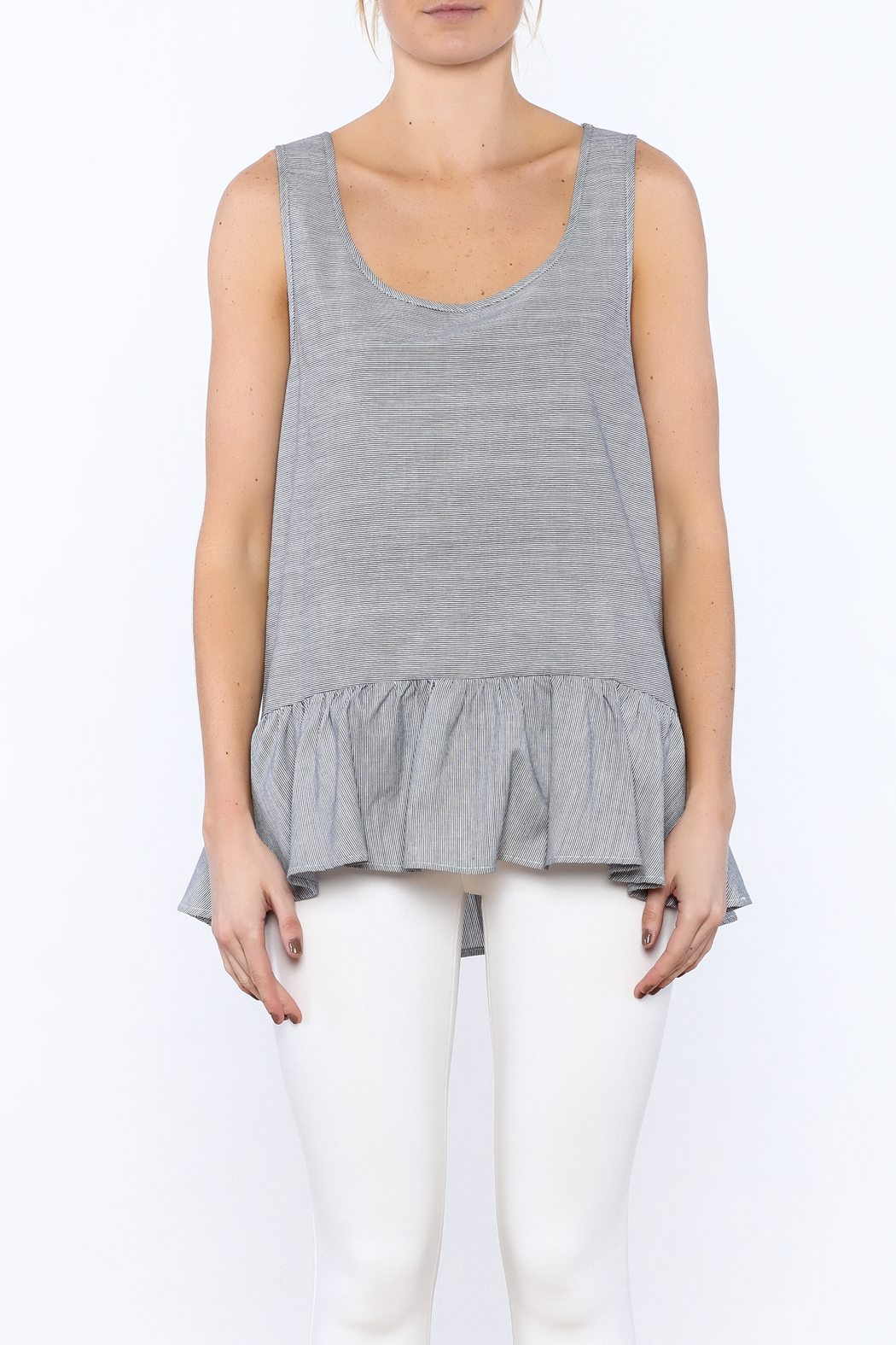 Zoa Grey Sleeveless Top - Side Cropped Image