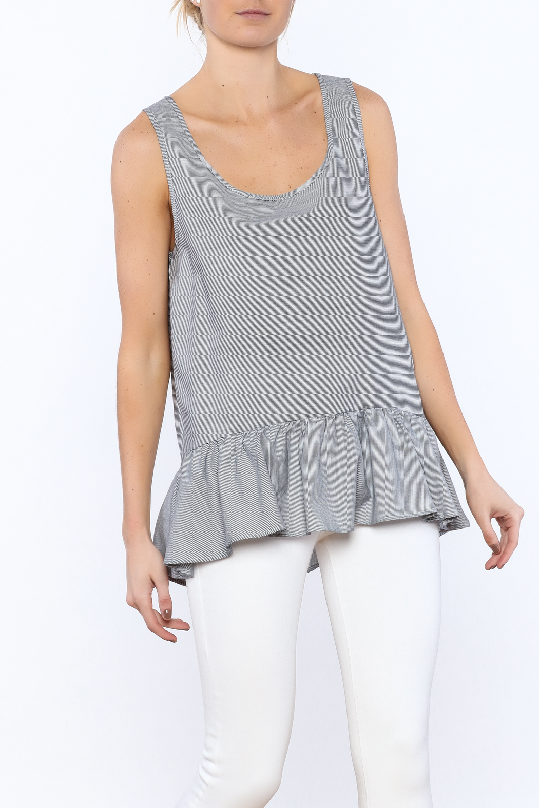 Zoa Grey Sleeveless Top - Front Cropped Image