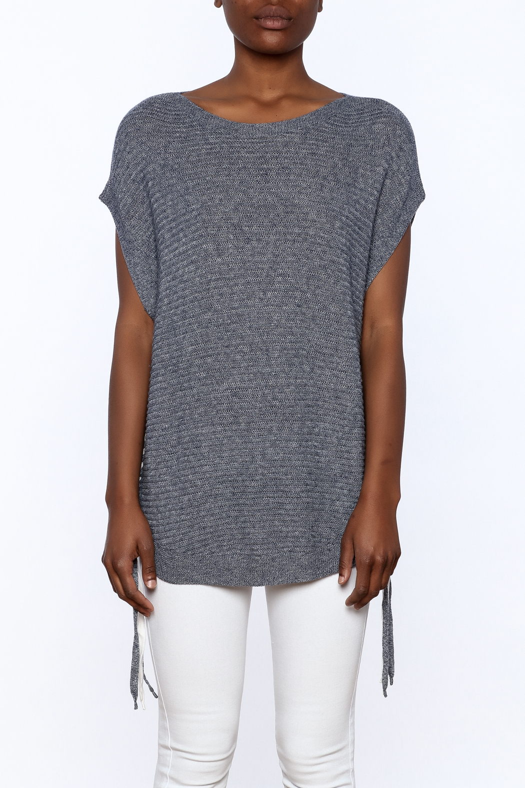 zoe couture Grey Tunic Sweater - Side Cropped Image
