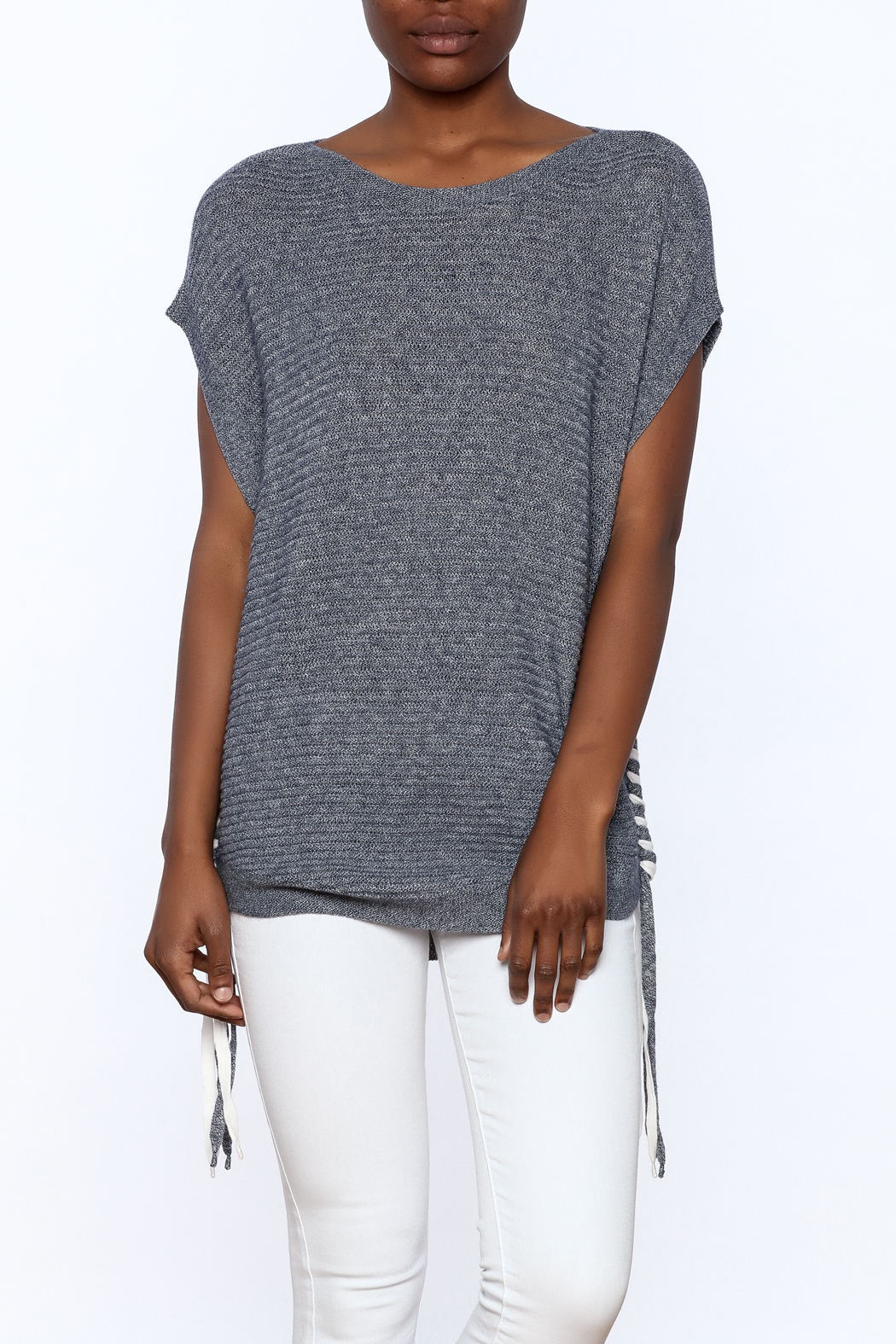 zoe couture Grey Tunic Sweater - Main Image