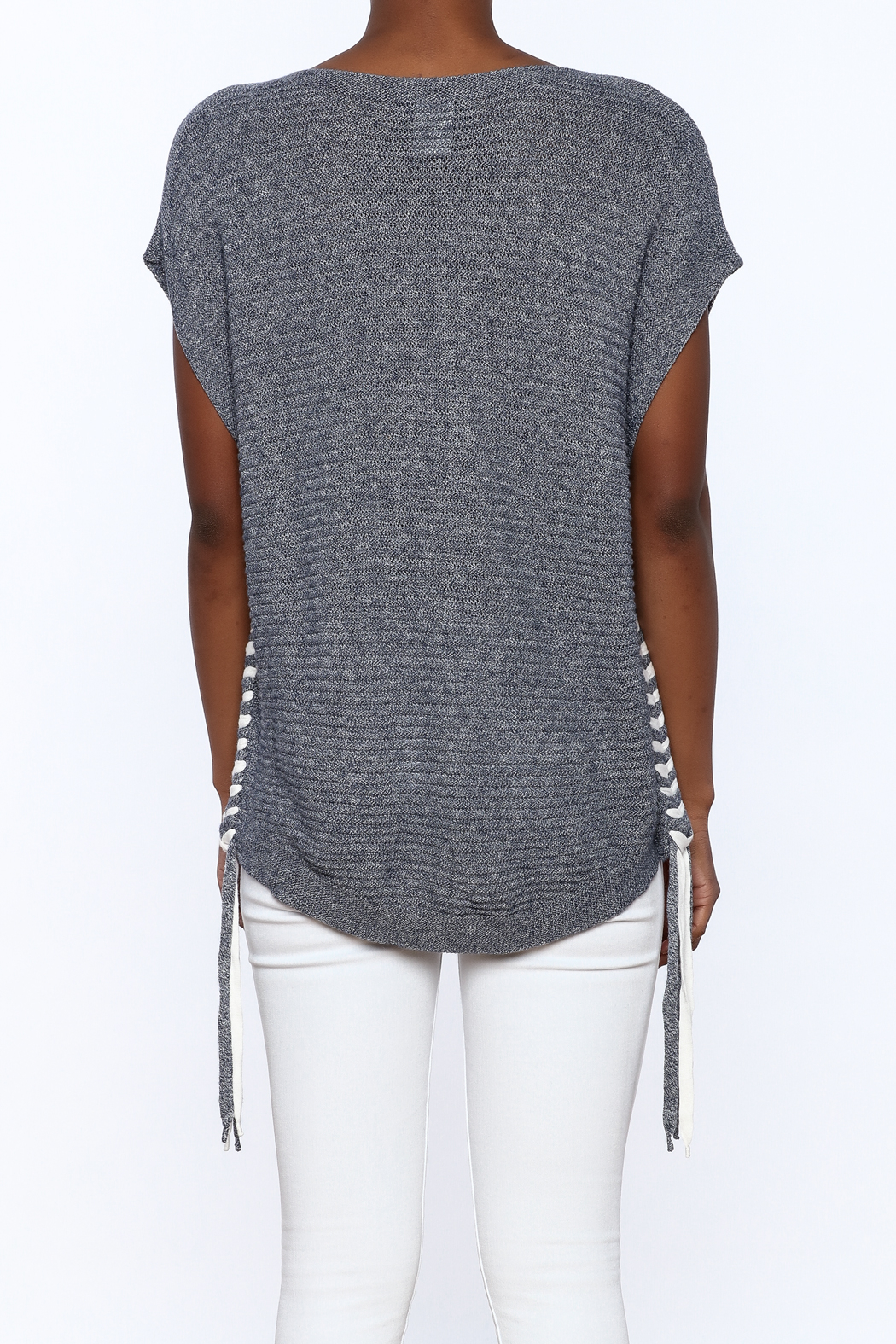 zoe couture Grey Tunic Sweater - Back Cropped Image