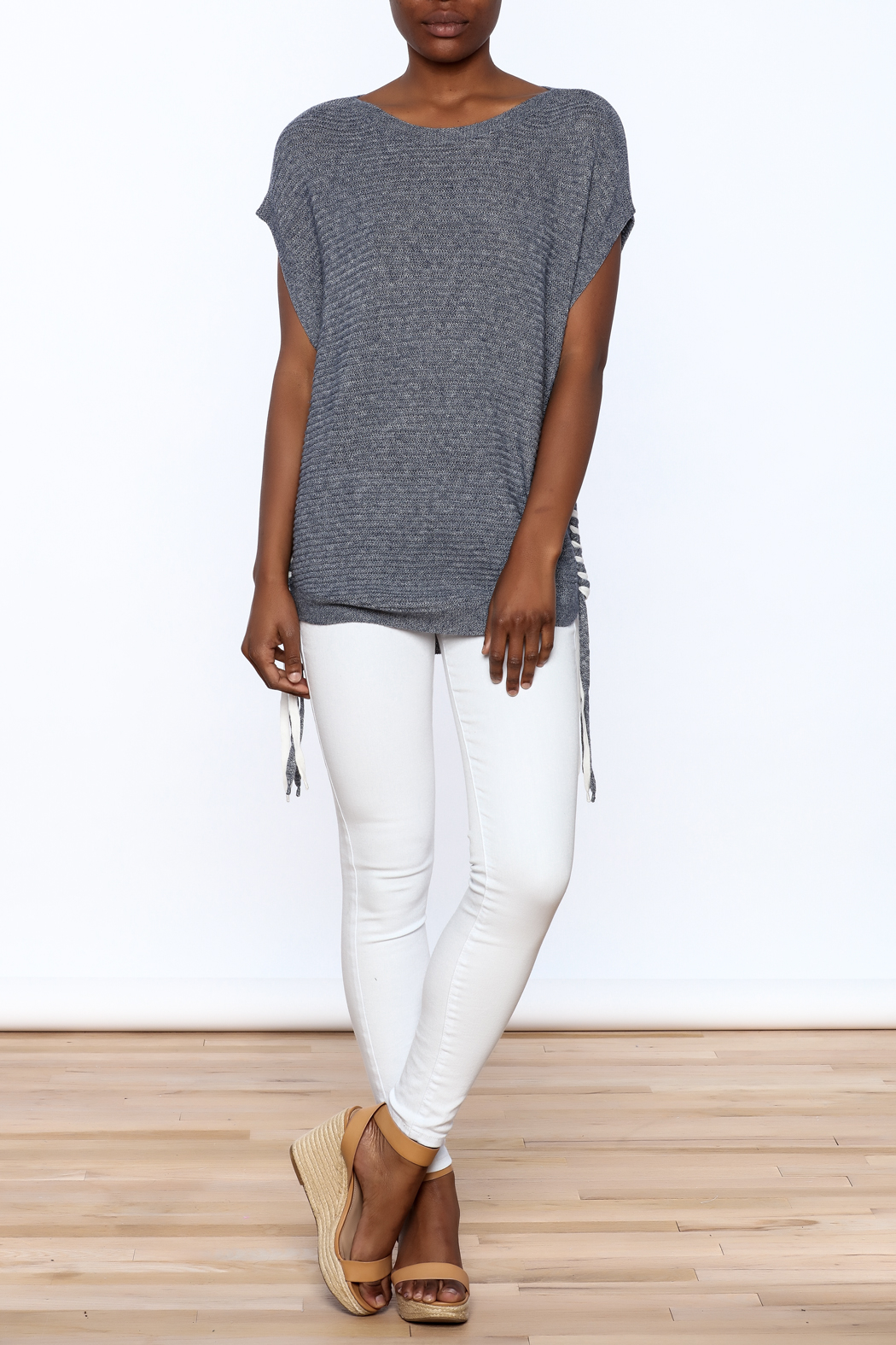 zoe couture Grey Tunic Sweater - Front Full Image