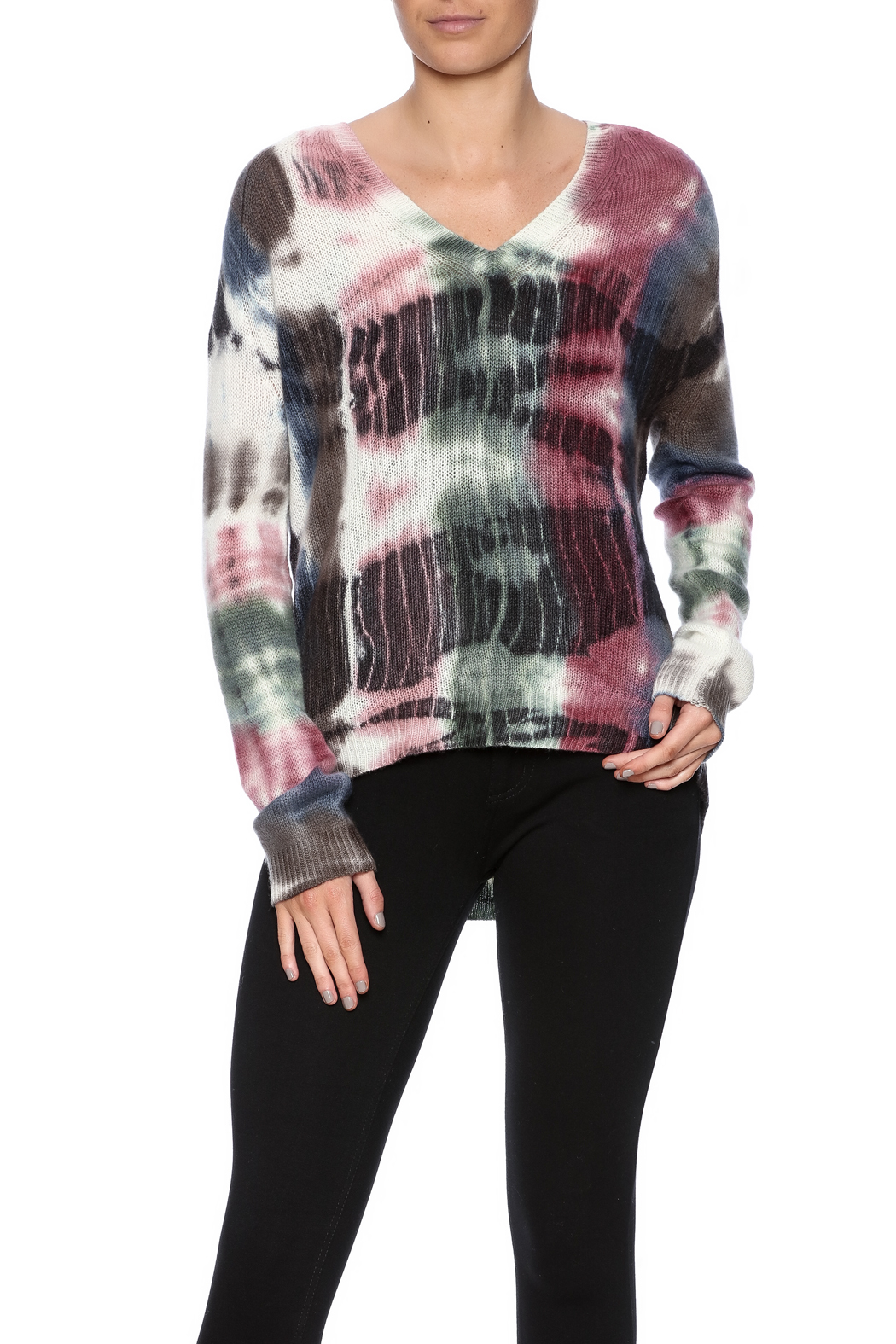 zoe couture Tie Dye Cashmere Pullover - Front Cropped Image