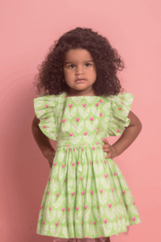 Mandy by Gema Zoe Dress Big Love Lime - Front cropped