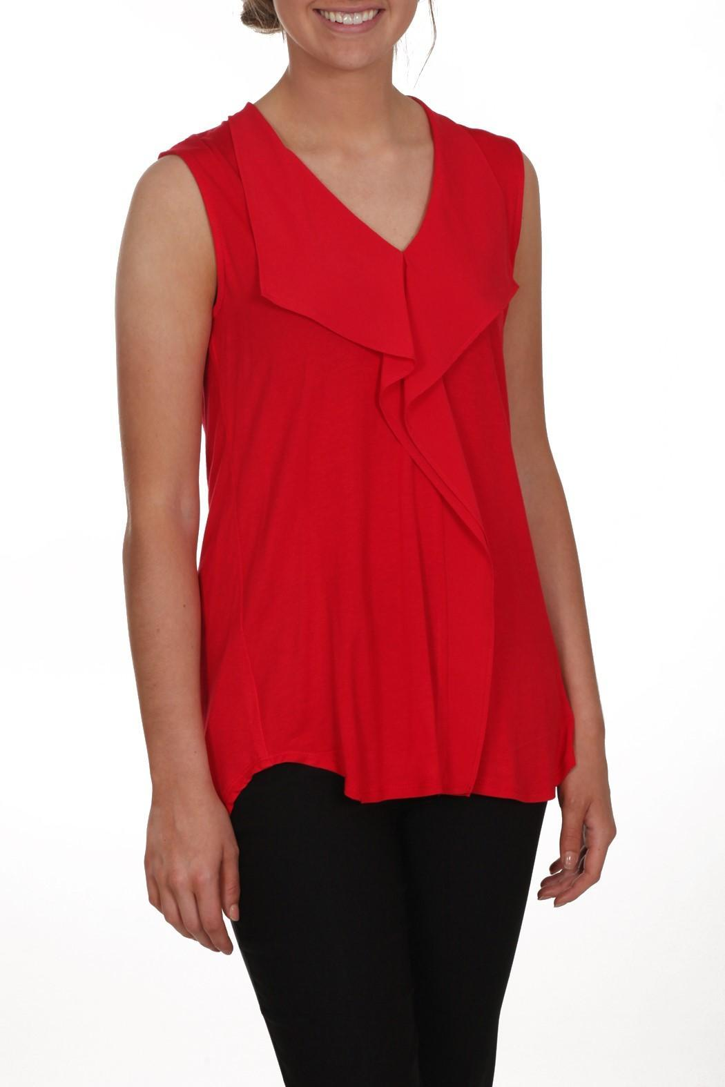 Zoe Red Sleeveless Top - Front Cropped Image