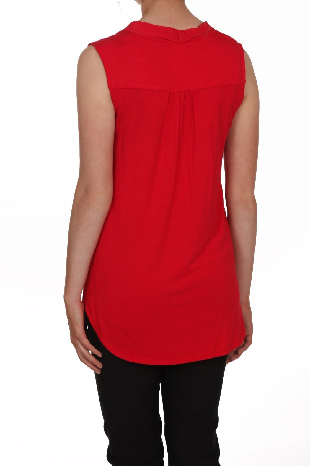 Zoe Red Sleeveless Top - Front Full Image