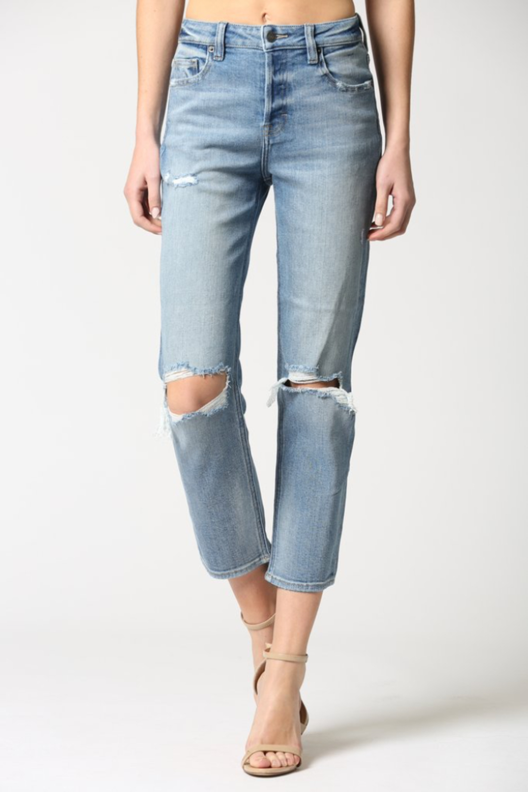 Hidden Jeans Zoey Distressed Mom Jeans - Front Full Image