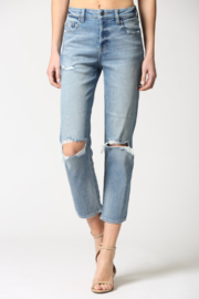 Hidden Jeans Zoey Distressed Mom Jeans - Front full body