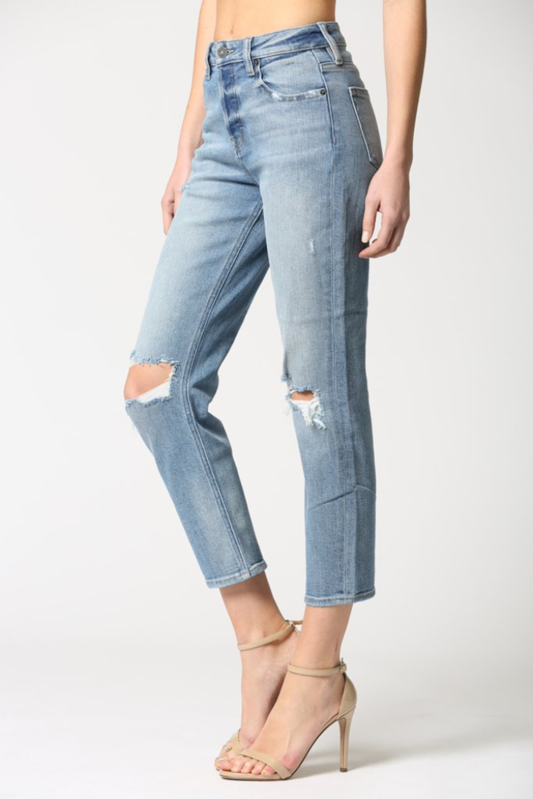Hidden Jeans Zoey Distressed Mom Jeans - Side Cropped Image